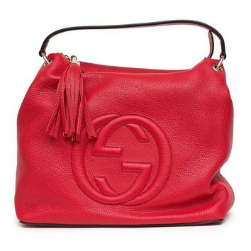DCCKUG3 Gucci Soho Flame Red Leather Bag Soft Hobo Italy Handbag New