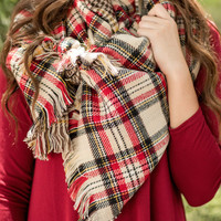 Double Duty Reversible Plaid Scarf-Ivory