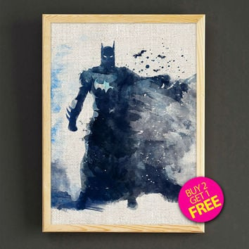 Batman Watercolor Art Print Dark Knight Superhero Poster House Wear Wall Art Decor Gift Linen Print - Buy 2 Get FREE - 145s2g