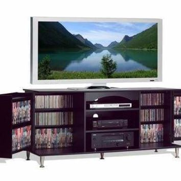 Premier Large Black Flat Panel Plasma / LCD TV Console with Media Storage
