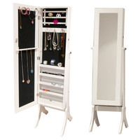 this: Bijoux Mirrored Jewellery Cabinet & Accessory Organiser - 2-in-1 Full Length Mirror & Locking Jewellery Box - Holds Earrings, Necklaces, Bracelets & Rings - 153cm x 36cm - White
