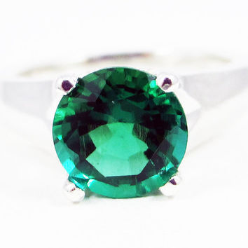 Sterling Silver Large Emerald Solitaire Ring, May Birthstone Ring, Sterling Silver Solitaire Ring, Large Solitaire Ring, Emerald Solitaire