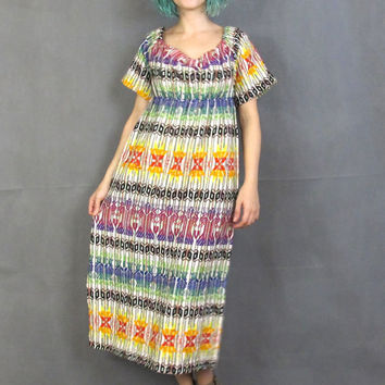 70s Colorful Embroidered Mexican Dress Ethnic Hippie Boho Kaftan Empire Waist Off Shoulder Shorts Sleeves Rainbow Festival Maxi Dress (M)