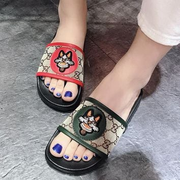 GUCCI Women Fashion Embroidery Slipper Flats Shoes