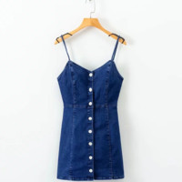 FREE SHIPPING Summer style slim and deep V neck elastic single breasted denim suspender dress