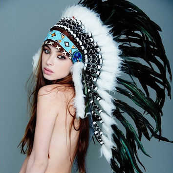 Native American Inspired Indian Medium Headdress / Warbonnet Black and White Feathers (MH011), 36in