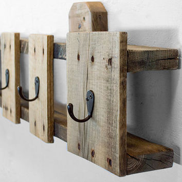 Coat Hooks - Reclaimed Wood Coat Rack - Entryway Coat Hooks - Pallet Furniture - Entryway Organization - Key Hook - Industrial Coat Rack