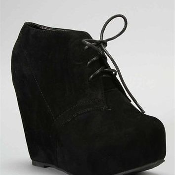 Black Wedge Bootie