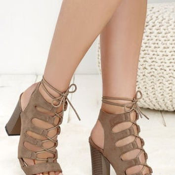Obsessed Taupe Suede Lace-Up Heels
