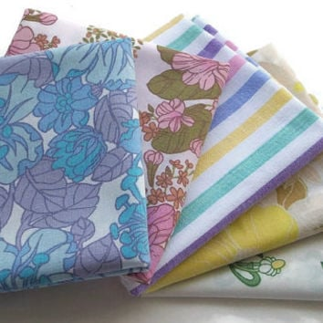 Vintage Mod Floral & Stripes Sheet Fabric - Five Fat Quarters in One Bundle - Sixties - Seventies - Retro Fabric Collection