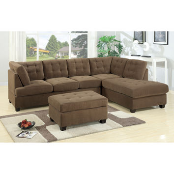 Bobkona Suede Right Facing Sectional