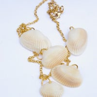 5 Shell Necklace, 5 Charm Necklace, Real Seashell Necklace, Seashell Charm Necklace