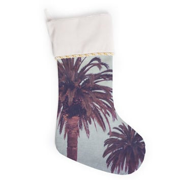 "Ann Barnes ""California Dreams"" Blue Brown Christmas Stocking"