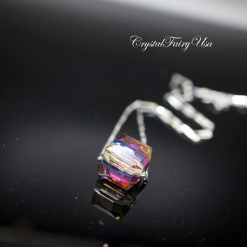 Swarovski Crystal Necklace | Tiny Rainbow Crystal Necklace | Faceted Single Cube Crystal Bead Necklace | Gift For Her | Bridesmaid Necklace