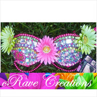 32A Pretty Peace Signs Bling Double Push Up Bra: READY TO SHIP
