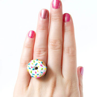 End Season SALE - Sprinkle Donut Ring - Adorable Food Jewelry