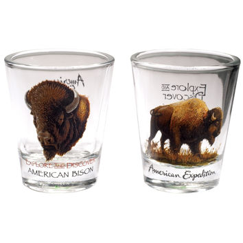 Two Piece American Bison Shot Glass Set