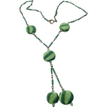 Art Deco Necklace Two Tone Green Art Glass Vintage Jewelry