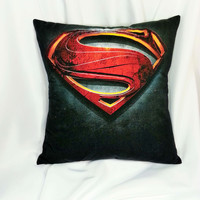 Superman movie Logo T-shirt made into a cotton pillow cover.