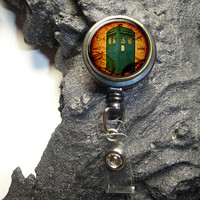Steampunk Dr. Who Time in Motion Retractable ID,Badge Holder,Badge ID Reel,Office Badge Reel,ID Holder