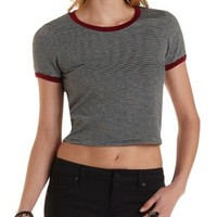 Black Combo Cropped & Striped Ringer Tee by Charlotte Russe