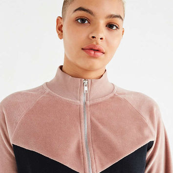 UO Colorblock Velour Track Jacket | Urban Outfitters