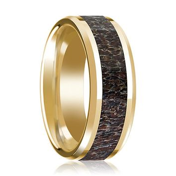 14K Yellow Gold Wedding Ring Dark Deer Antler Inlay Beveled Edge and Polished