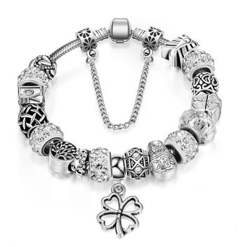 New Year Gifts Silver Charm Bracelet European Crystal Charm Beads Fit Pandora Bracelets For Women Jewelry Pulseira Masculina