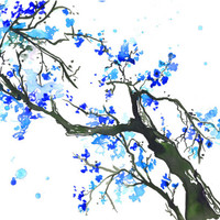 Print from original watercolor, The Promise of Spring by Jessica Durrant -blue edition