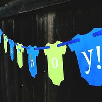 Hipster It's A Boy Onesuit Banner, Little Man, Modern Green and Blue, Baby Shower