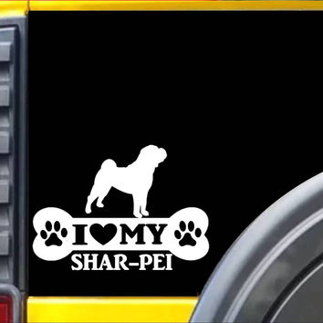 Shar-Pei Bone L087 8 Inch dog heartbeat sticker decal