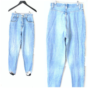 high waisted MOM jeans vintage 80s 1980s stretchy LIGHT wash skin tight DENIM pale faded stirrup pants