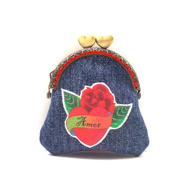 Tattoo denim coin purse, Latin love change purse, Change bag