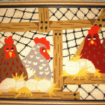 Christmas Sale Vintage Chicken Framed Cross Stitch Picture,Home decor