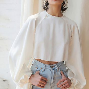 Modern Poet White Extra Long Lantern Sleeve Crew Neck Keyhole Back Crop Top Blouse