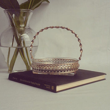 Vintage Glass Candy Dish in Metal Basket