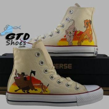 CREYONB Hand Painted Converse Hi. The Lion King, Simba, Nala, Timon, Pumbaa. Handpainted shoes