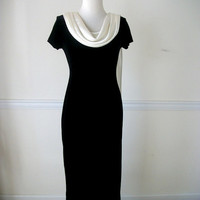 Vintage Black Velvet Cowl Neck Evening Dress