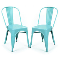 Industrial Chic Dining Chair Outdoor and Indoor Blue Metal Stackable (Set of 2)