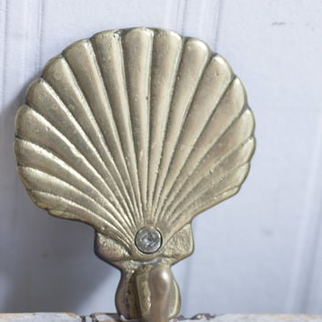 Vintage Brass Seashell Coat or Towel Hook, Sea Shell beach Ocean Home Decor