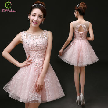 Sweet Cocktail Dresses 2015 New Bride Married  Banquet Pink Lace Short Prom Dress Plus Size Party Formal Dresses
