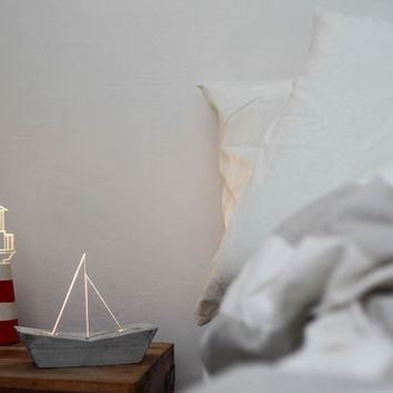 Nautical bedside lamp set : Lighthouse Lamp + Boat lamp, concrete night light - Limited Edition
