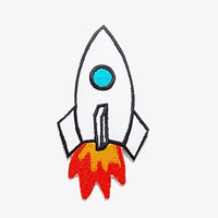 Rocket Ship Spacecraft Missile Cute Orange Blaze Fire New Sew on / Iron On Patch Embroidered Applique Size 5.5cm.x10.5cm.