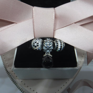 Pandora Charms Authentic Black and White Three Charm Gift Set
