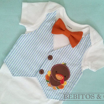 Baby Boy Vest Bodysuit - Turkey Vest Bodysuit - Boys Seersucker blue vest bodysuit - First Thanksgiving outfit.