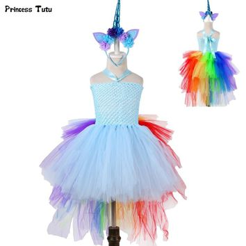 Rainbow Princess Girls Tutu Dress Fancy Train Unicorn Dress Children Girl Halloween Costume Kids Birthday Party Dress Up 1-14Y