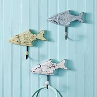 Weathered Beach Cottage Fish Wall Hooks - Set of 3 - Weathered Hangers for Coats, Aprons, Hats, Towels, Pot Holders