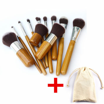 11Pcs Makeup Brushes Cosmetics Tools Natural Bamboo Handle Eyeshadow Cosmetic Makeup Brush Set Blush Soft Brushes Kit With Bag