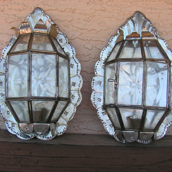 Mexican Punched Tin Stars Wall Sconces Candle Holders with Glass Rustic Primitive Wall Hanging Decor