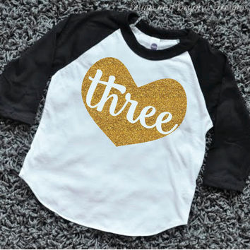 Three Year Old Birthday Outfit 3 Shirt Toddler Girl Raglan 3rd